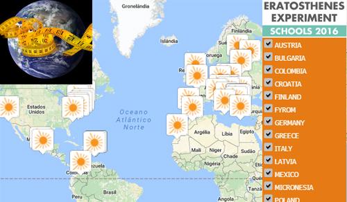 Que tal medir a circunferência da Terra com um pauzinho? Ainda há vagas para preencher o mapa com turmas, grupos e clubes a participar nesta iniciativa global. Crédito: Google maps/GRM