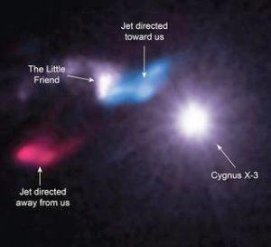 Cygnus X-3, o Pequeno Amigo e os jatos detetados.
