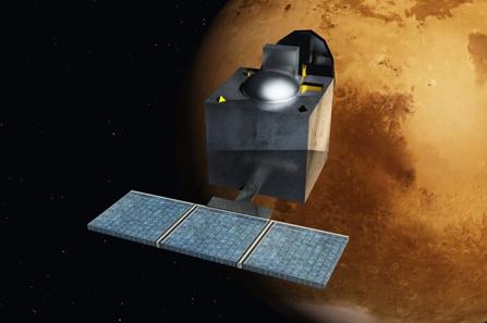A Mangalvaan em órbita de Marte (visão artística). Crédito: Nesnad