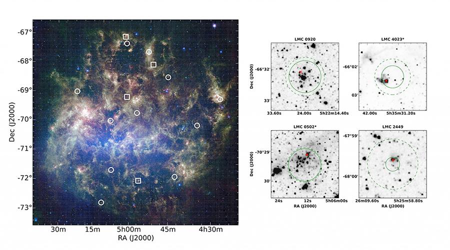 Grande Nuvem de Magalhães - Enxames de estrelas com estrelas de várias gerações.