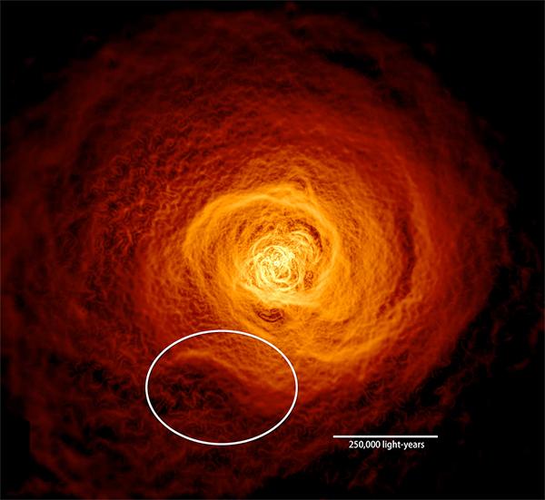 Onda de gás quente no enxame galáctico de Perseu.