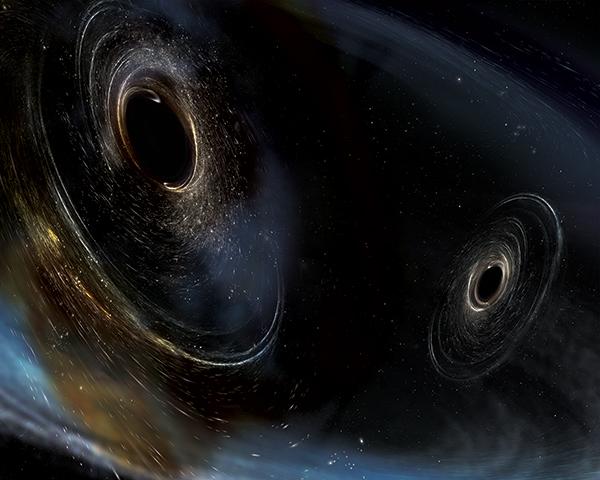 Binário de buracos negros não alinhados.