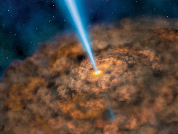 Poeira em torno de núcleo galáctico ativo.