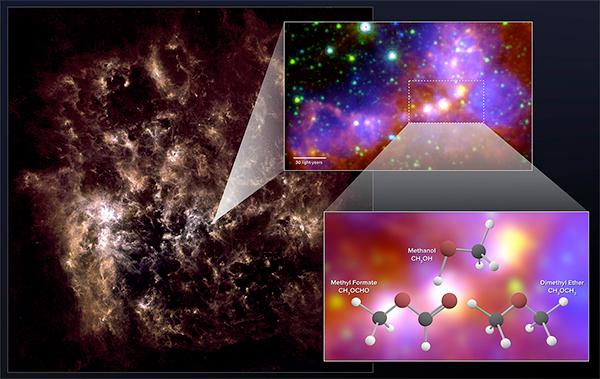 Moléculas orgânicas complexas na Grande Nuvem de Magalhães.
