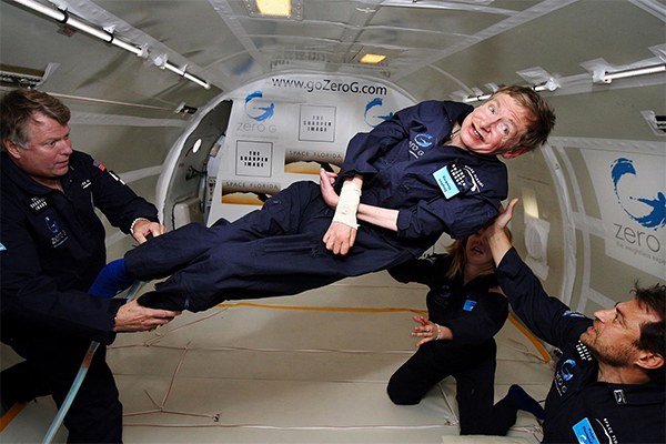 Stephen Hawking em gravidade zero.