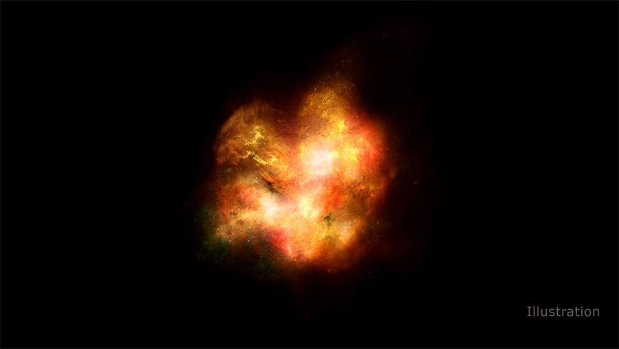 Ilustração - galáxia primitiva.